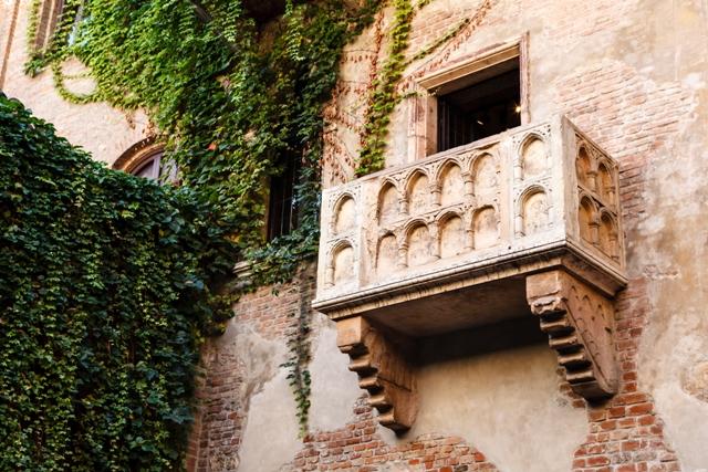 El famoso balcón de Romeo y Julieta, seguramente el lugar más visitado de la ciudad.Y desde luego el más retratado.