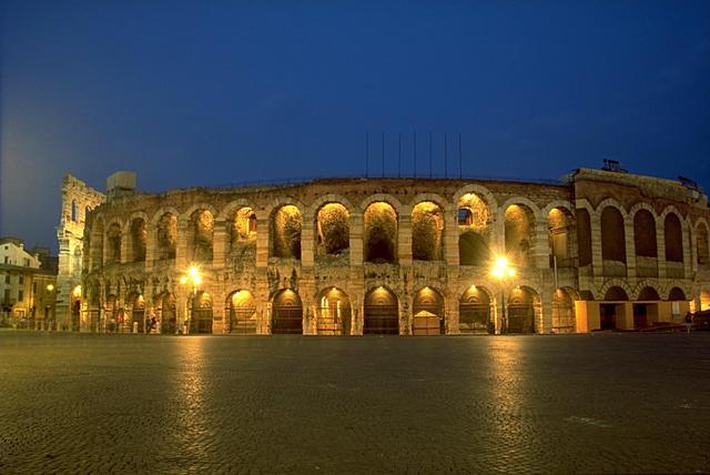 La famosa arena de Verona donde cada verano se celebran todo tipo de espectáculos de altísimo nivel.