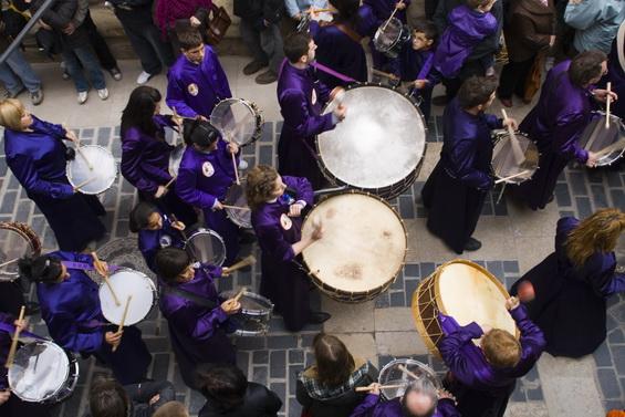 El tambor, los tambores, son protagonistas absolutos de la Semana Santa en Calanda. (Foto cortesía del Ayto. de Calanda)