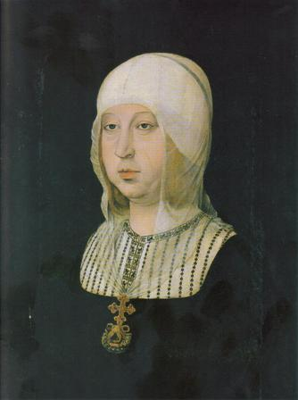 Isabel la Catolica según retrato del artista Juan de Flandes.