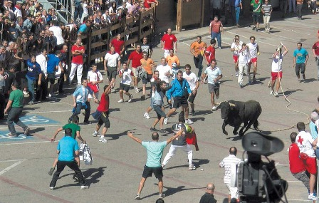 Los más jóvenes son especialmente aficionados a las correrías del toro ensogado de Lodosa (Foto Archivo Turismo Reyno de Navarra)