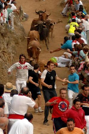 Para correr en el encierro de Falces hay que estar muy en forma y conocer muy bien el terreno. (Foto Archivo Turismo Reyno de Navarra)