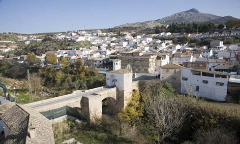 Vista general de Pinos Puente y el Puente en primer plano.