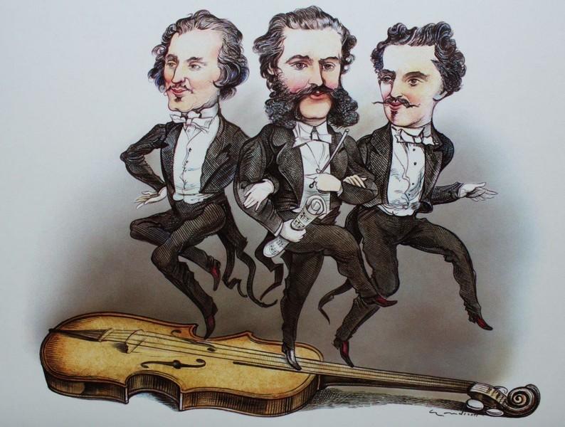 Caricatura delos hermanos Strauss